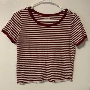 Maroon Stripe Hollister Crop Tee